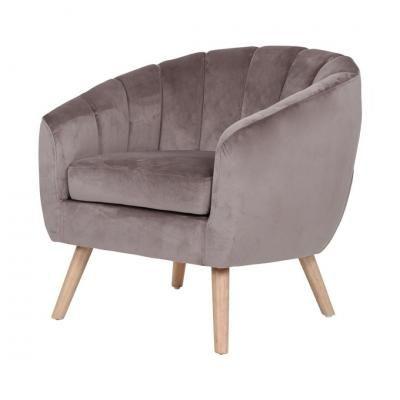 Steppelt bársony fotel, szürkésbarna - ABEILLE